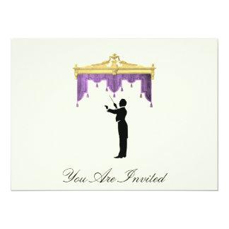 Conductor y cortina del teatro - el vintage invita invitación 13,9 x 19,0 cm