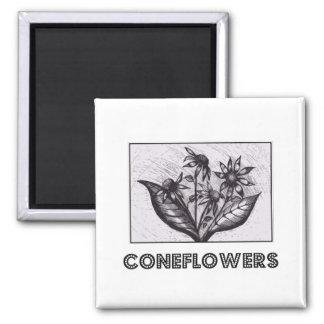 Coneflowers Imán Cuadrado