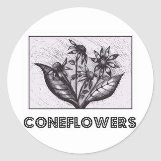 Coneflowers Pegatina Redonda