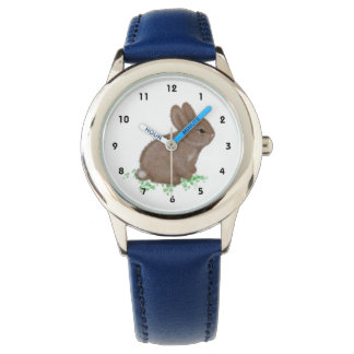 Conejito adorable en el trébol (mano izquierda) reloj