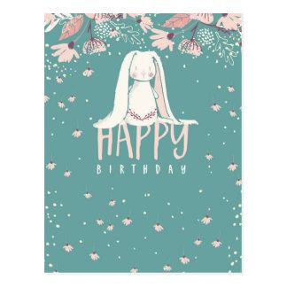 Conejito blanco y cumpleaños de las flores el   postal