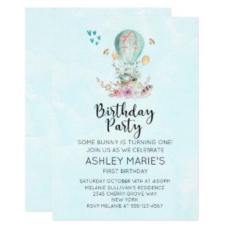 Conejito caprichoso del bebé en una fiesta de invitación 12,7 x 17,8 cm