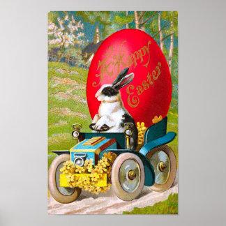Conejito de pascua con el vintage fresco del coche póster