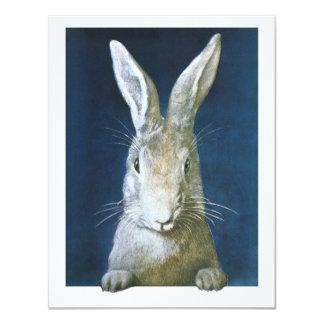 Conejito de pascua del vintage, conejo blanco invitación 10,8 x 13,9 cm