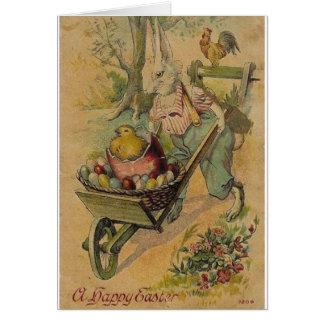 Conejito de pascua del vintage y tarjeta de pascua
