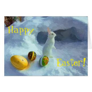 Conejito de pascua en nieve tarjeta de felicitación