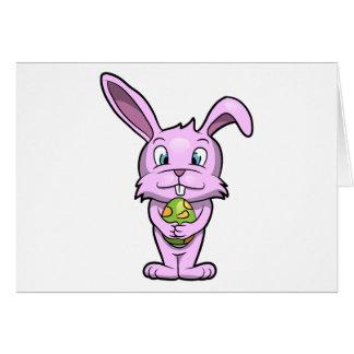 Conejito de pascua rosado tarjeta de felicitación