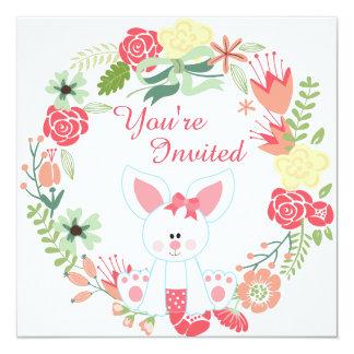 Conejito del chica y 1ra invitación del cumpleaños invitación 13,3 cm x 13,3cm