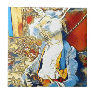 Conejito del circo azulejo de cerámica