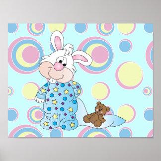 Conejito dulce con el oso de la manta y de peluche póster