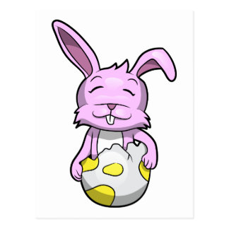 Conejito en el huevo de Pascua Postal