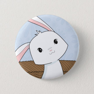 Conejito en un botón de Pascua del primer de la