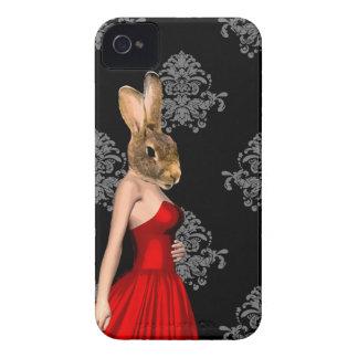 Conejito en vestido rojo Case-Mate iPhone 4 cárcasas