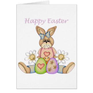 Conejito feliz del chica de Pascua Tarjeton