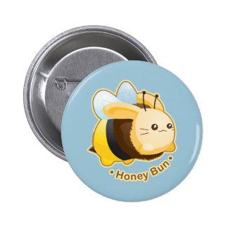 Conejito lindo del bollo de miel chapa redonda de 5 cm