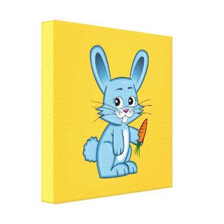 Conejito lindo del dibujo animado que sostiene la lienzo