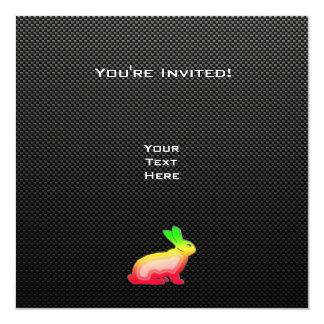 Conejito liso invitación 13,3 cm x 13,3cm