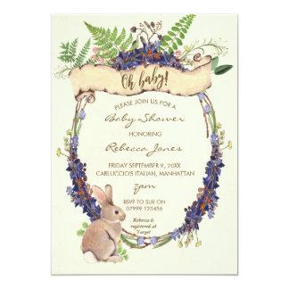 conejito neutral del conejo del bosque de la invitación 12,7 x 17,8 cm