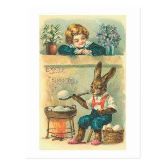 Conejito que hierve el vintage Pascua de los Postal