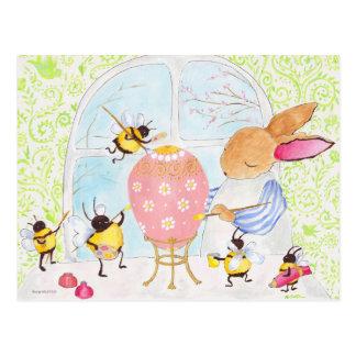 Conejito y abejas de pascua postal