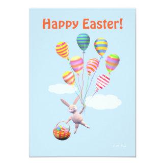 Conejito y globos felices de pascua invitación 12,7 x 17,8 cm