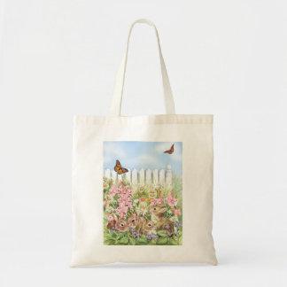 Conejitos en el jardín bolso de tela