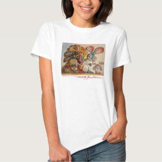 Conejitos enojados en la camiseta de la mujer del