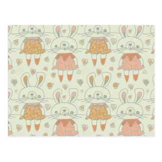 Conejitos felices en naranja postal