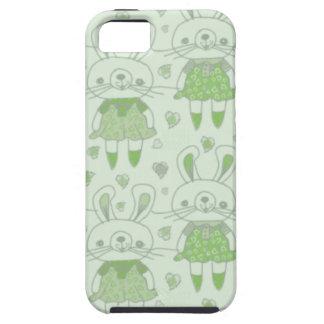 Conejitos felices en verde funda para iPhone SE/5/5s