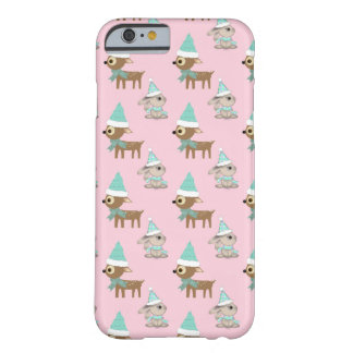 Conejitos y reno sobre pálido - arte rosado del funda para iPhone 6 barely there