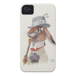 Conejo antropomorfo del vintage divertido iPhone 4 Case-Mate funda