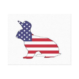 """Conejo """"bandera americana """" impresión en lienzo"""