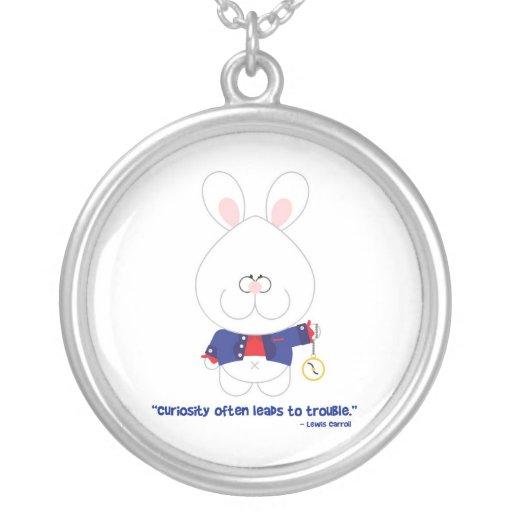 Conejo blanco Alicia de la curiosidad en el país d Colgante Personalizado