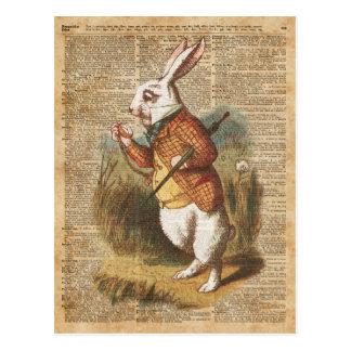 Conejo blanco Alicia en arte del vintage del país Postal