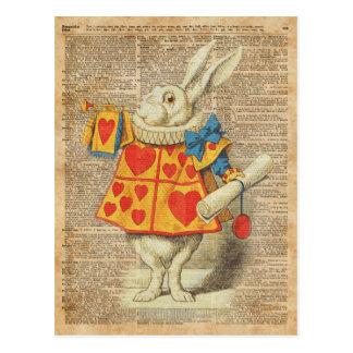 Conejo blanco Alicia en ilustraciones del vintage Postal