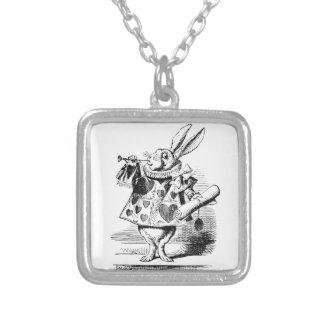 Conejo blanco collar plateado