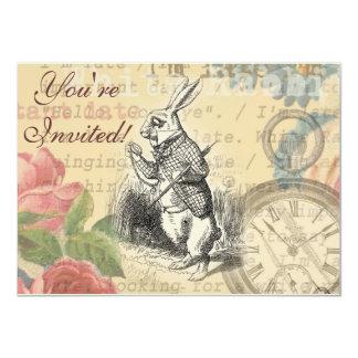 Conejo blanco de Alicia en el país de las Invitación 11,4 X 15,8 Cm