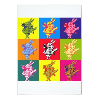 Conejo blanco del arte pop a todo color invitación 12,7 x 17,8 cm