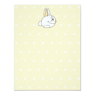 Conejo blanco, en patten. beige del lunar invitacion personal