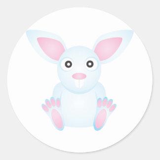 Conejo blanco lindo pegatina redonda