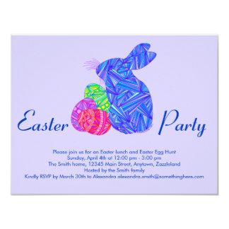 Conejo colorido azul de los huevos de Pascua del Invitación 10,8 X 13,9 Cm