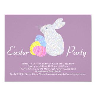 Conejo colorido blanco de los huevos de Pascua del Invitación 10,8 X 13,9 Cm
