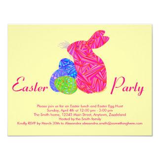 Conejo colorido rosado de los huevos de Pascua del Invitación 10,8 X 13,9 Cm