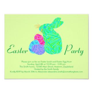 Conejo colorido verde de los huevos de Pascua del Invitación 10,8 X 13,9 Cm
