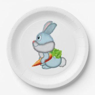 Conejo con la zanahoria plato de papel