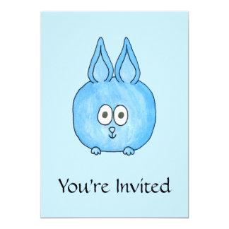Conejo de conejito azul lindo invitación 12,7 x 17,8 cm