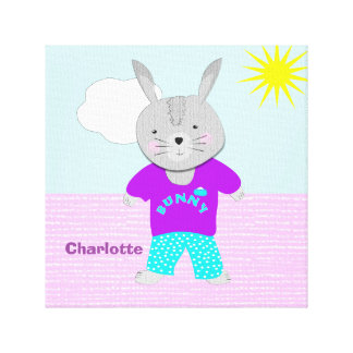 Conejo de conejito banal lindo personalizado impresión en lienzo