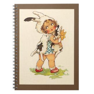 Conejo de conejito dulce del vintage del libro del cuaderno