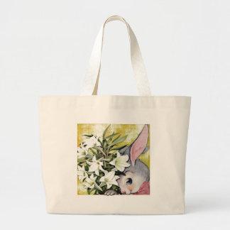 Conejo de conejito lindo con las flores bolsas