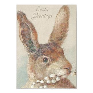 Conejo de conejito lindo de pascua del vintage invitación 12,7 x 17,8 cm
